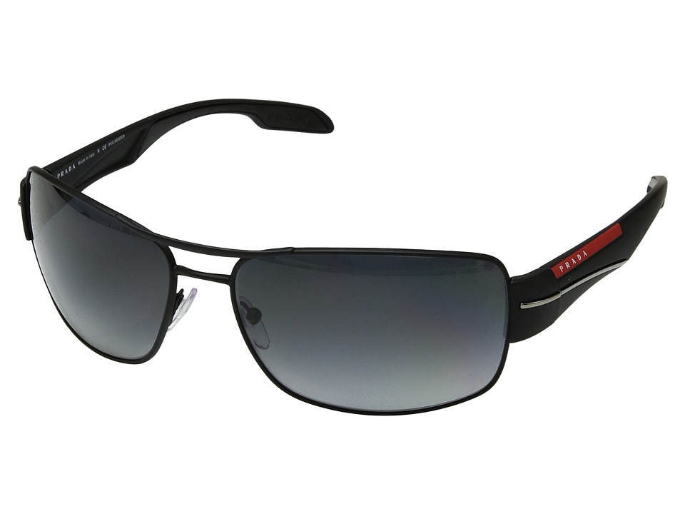 Prada Linea Rossa - 0PS 53NS (Black Rubber/Polarized Grey Gradient) Fashion Sunglasses