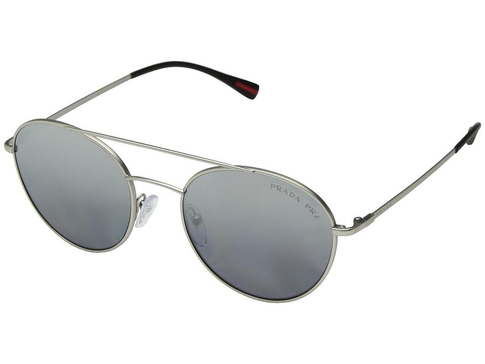 Prada Linea Rossa - 0PS 51SS (Matte Silver/Polarized Grey Mirror Silver) Fashion Sunglasses