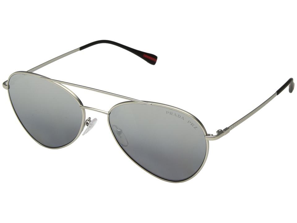 Prada Linea Rossa - 0PS 50SS (Matte Silver/Polarized Grey Mirror Silver) Fashion Sunglasses