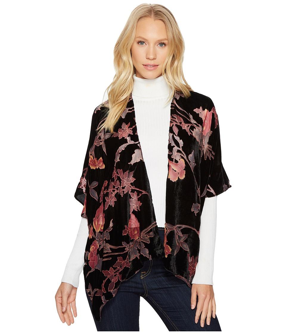 Bindya - Pink Floral Velvet Kimono