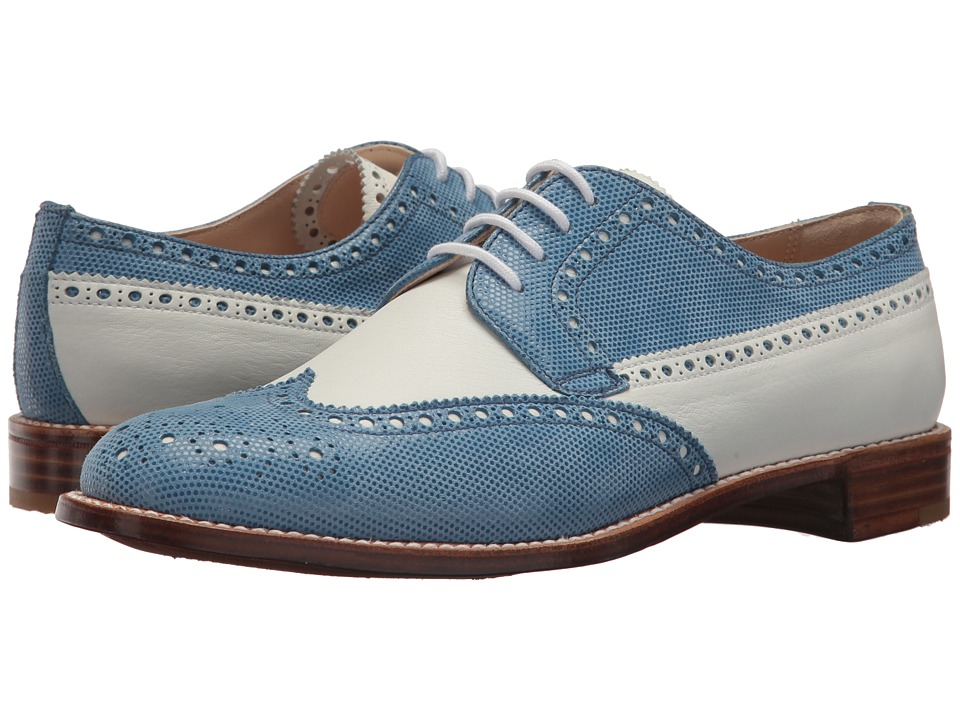 Gravati Calf Leather Wing Tip (White/Blue) Women