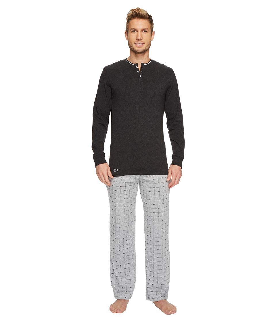 Lacoste Cotton Jersey Long Sleeve Henley Signature Print Knit Pants (Light Grey) Men