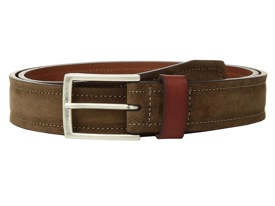 Johnston & Murphy - Suede Leather Loop Belt (Brown) Mens Belts