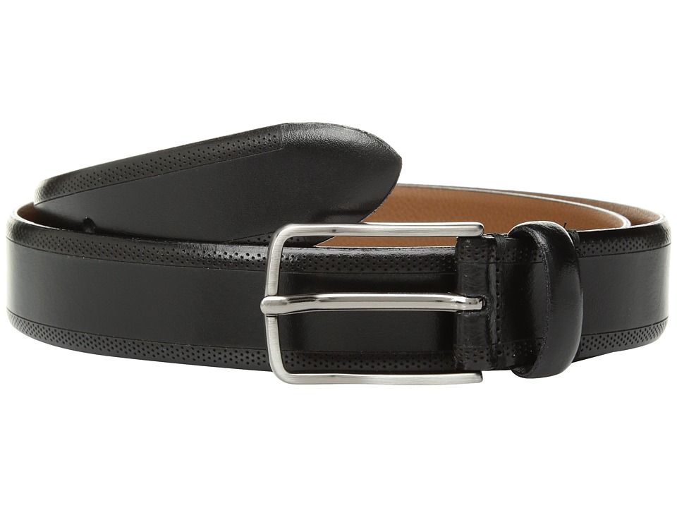 Johnston & Murphy - Edge Perf Embossed (Black) Mens Belts