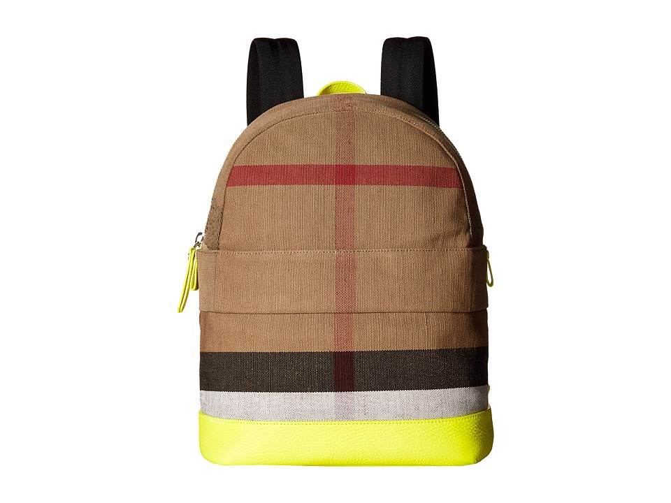 Burberry Kids Nico Slim Check School Backpack (Neon Yellow) Backpack Bags
