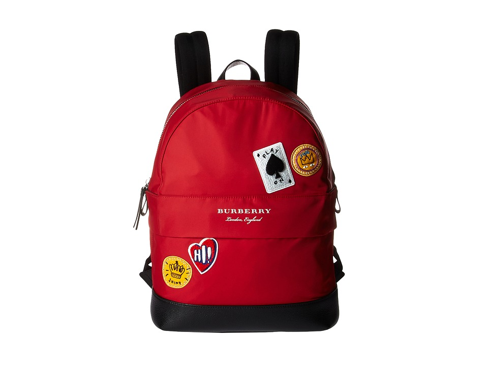 Burberry Kids Nico Cards Slim Backpack (Military Red) Bags