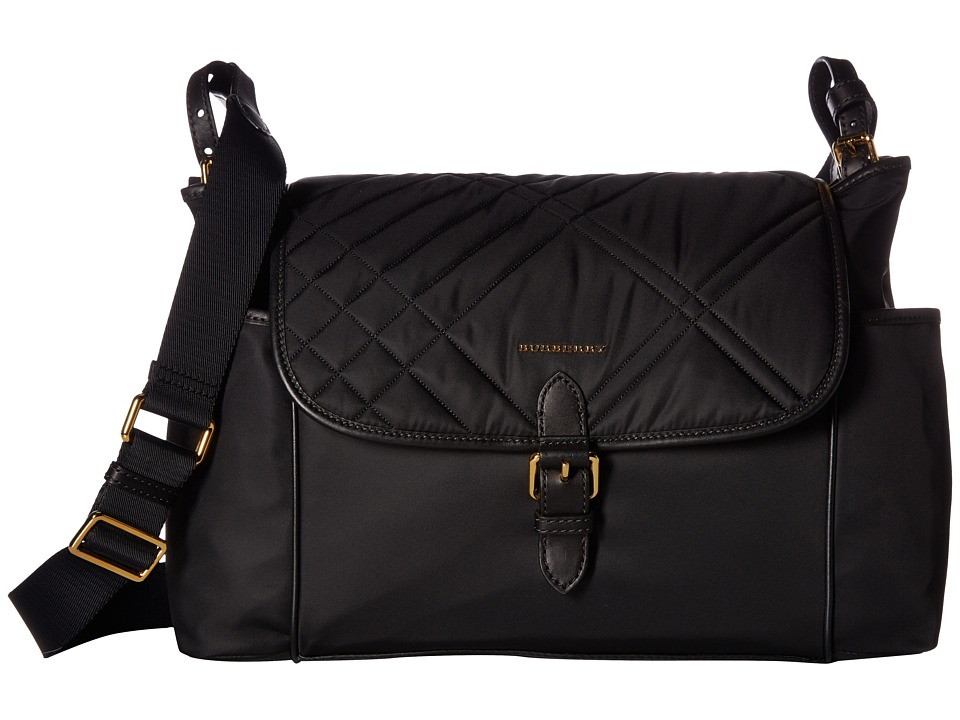 Burberry Kids Flap Diaper Bag (Black) Bags