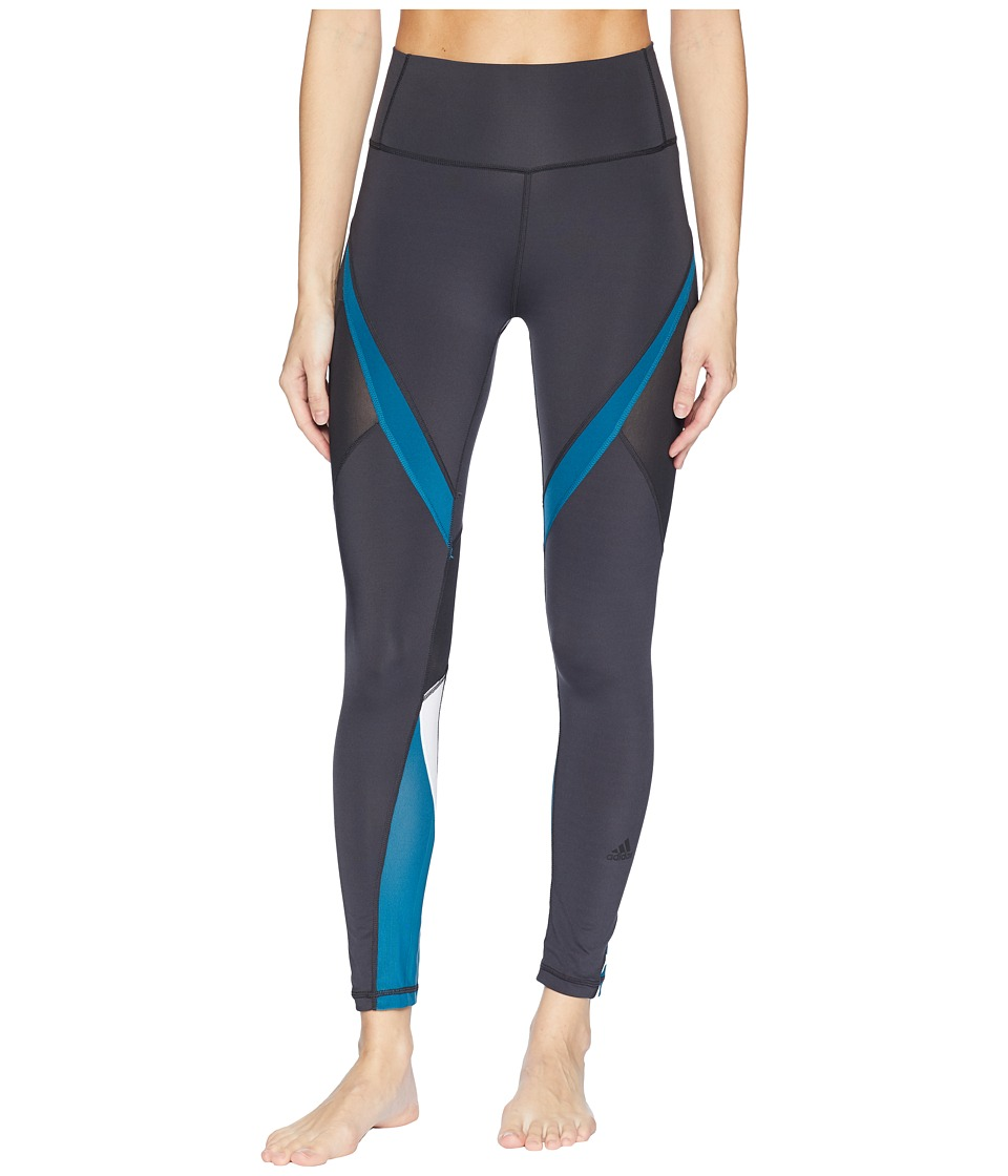 adidas Believe This High-Rise Heathered 3-Stripes 7/8 Tights (Carbon/Real Teal) Women