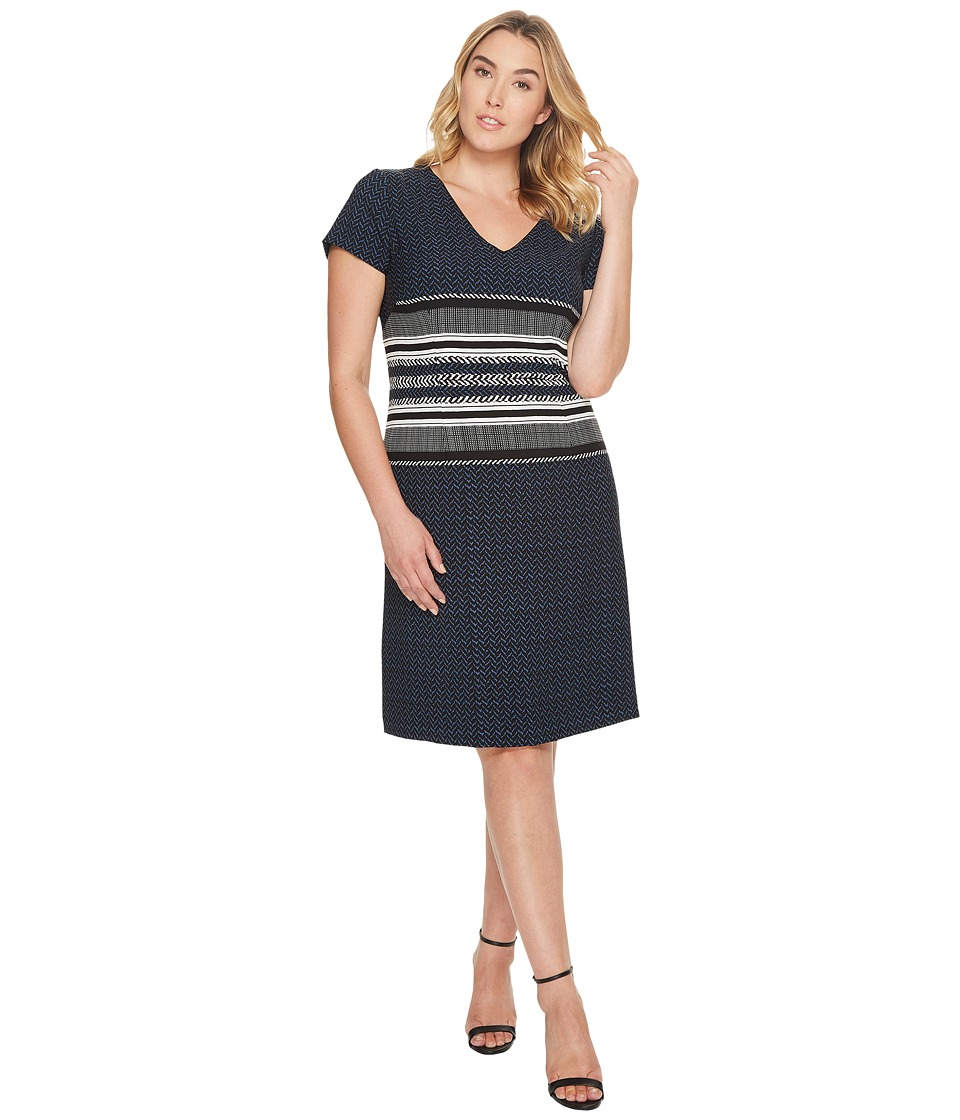 Adrianna Papell - Plus Size Mixed Herringbone Print Sheath Dress