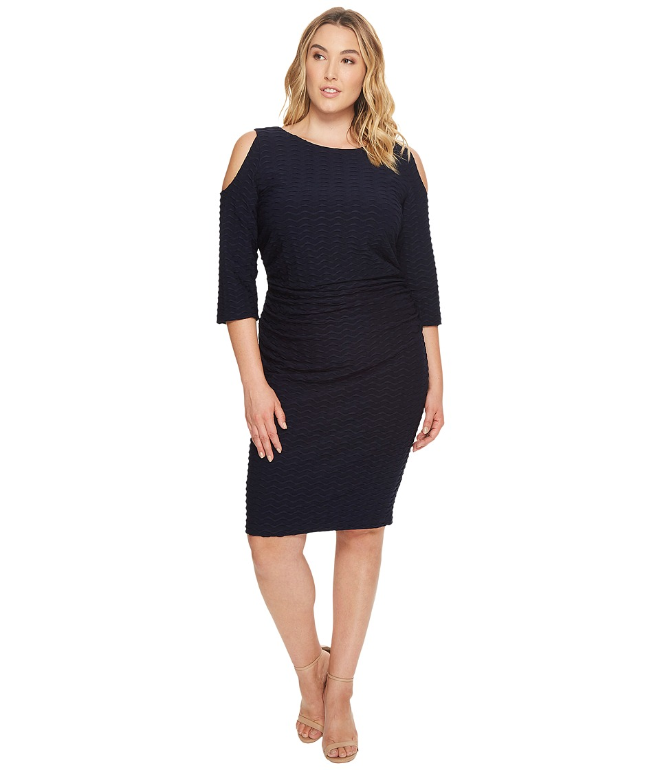 Adrianna Papell Plus Size Cold Shoulder Fitted Dress (Blue Moon) Women