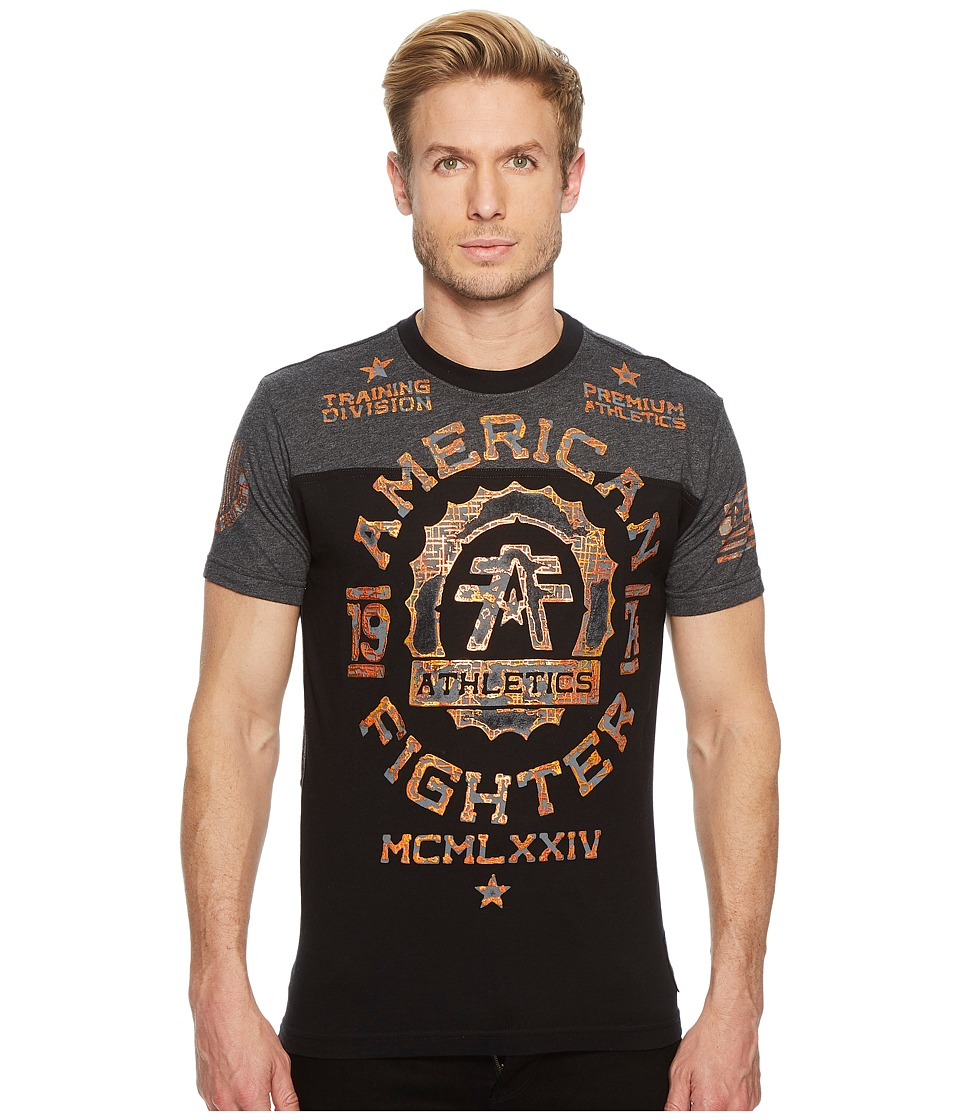 Image of American Fighter - Maryland Short Sleeve Football Tee (Black/Heather Black) Men's T Shirt