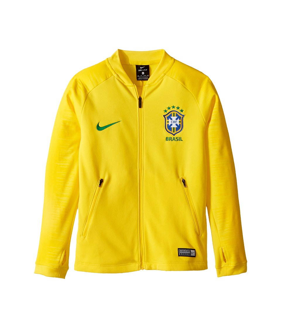 Nike Kids - Dry Brasil Anthem Soccer Jacket (Little Kids/Big Kids) (Midwest Gold/Varsity Maize/Lucky Green) Kids Coat