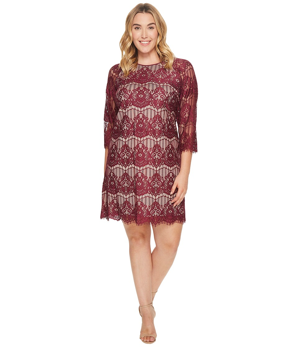 Adrianna Papell - Plus Size Scalloped Lace Trapeze Dress (Burgundy/Bisque) Womens Dress