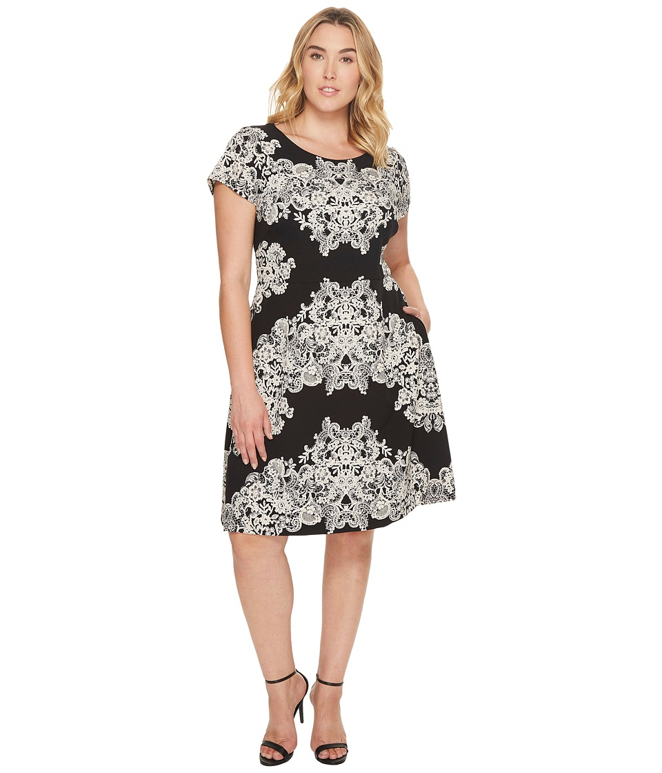 Adrianna Papell - Plus Size Lace Printed Fit Flare
