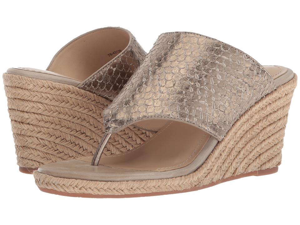 60s Shoes, Boots | 70s Shoes, Platforms, Boots Johnston amp Murphy - Gretchen Light Pewter Metallic Snake Print Leather Womens Dress Sandals $178.00 AT vintagedancer.com