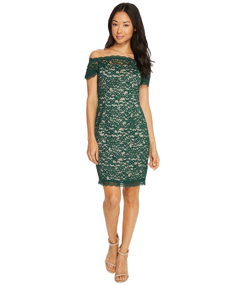 Adrianna Papell Petite Aubrey Lace Off the Shoulder Dress (Hunter/Bisque) Women
