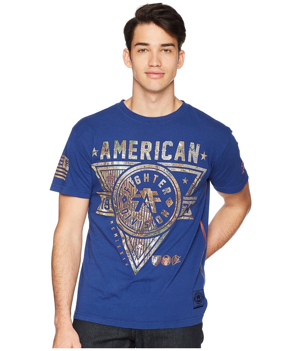 American Fighter - Siena Heights Short Sleeve Tee (Dark Vintage Blue) Mens T Shirt