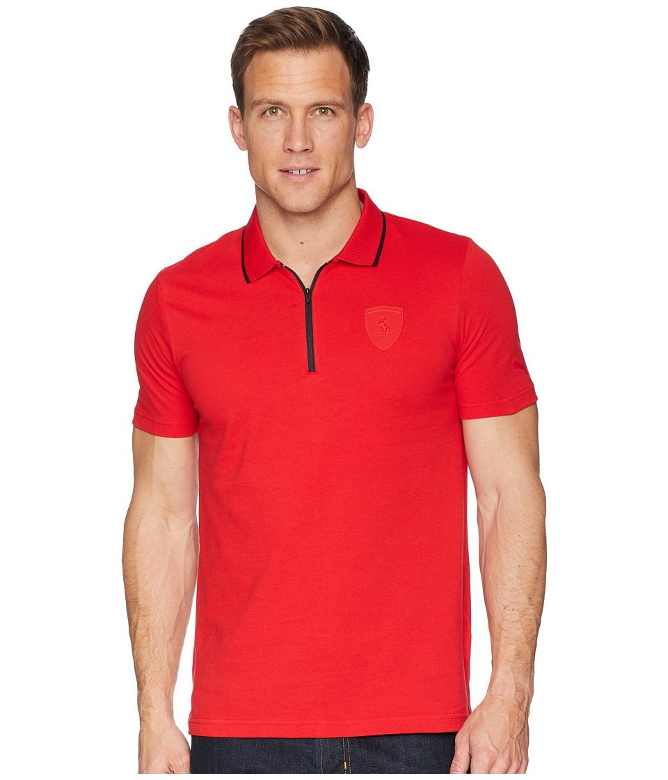 Puma Ferrari Polo (Rosso Corsa 3) Men's Short Sleeve Pull...