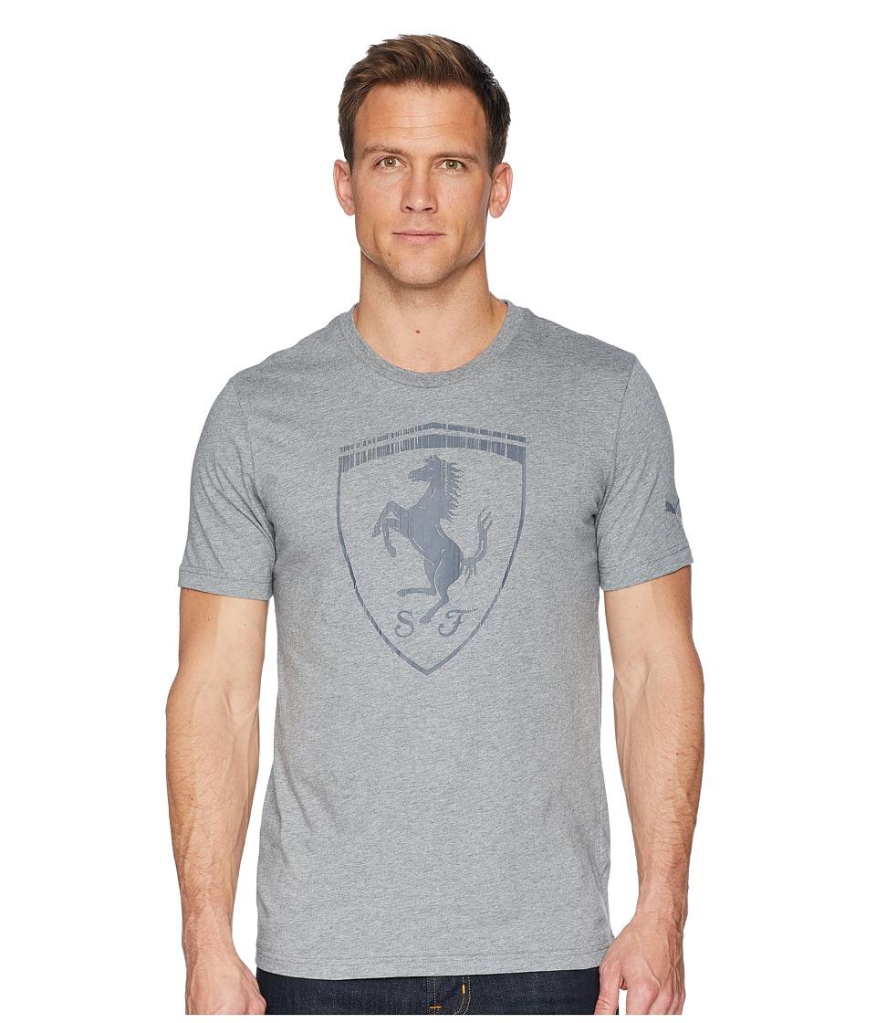 Puma Ferrari Big Shield Tee (Medium Gray Heather) Men's T...