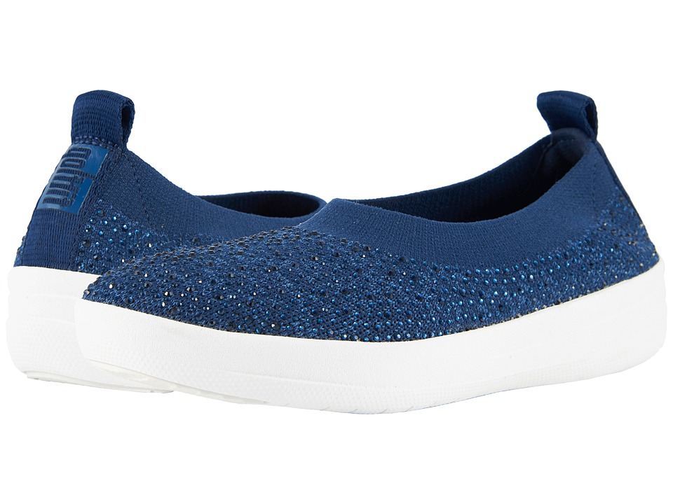 FitFlop - Uberknit Ballerina (Midnight Navy) Womens Slip on  Shoes