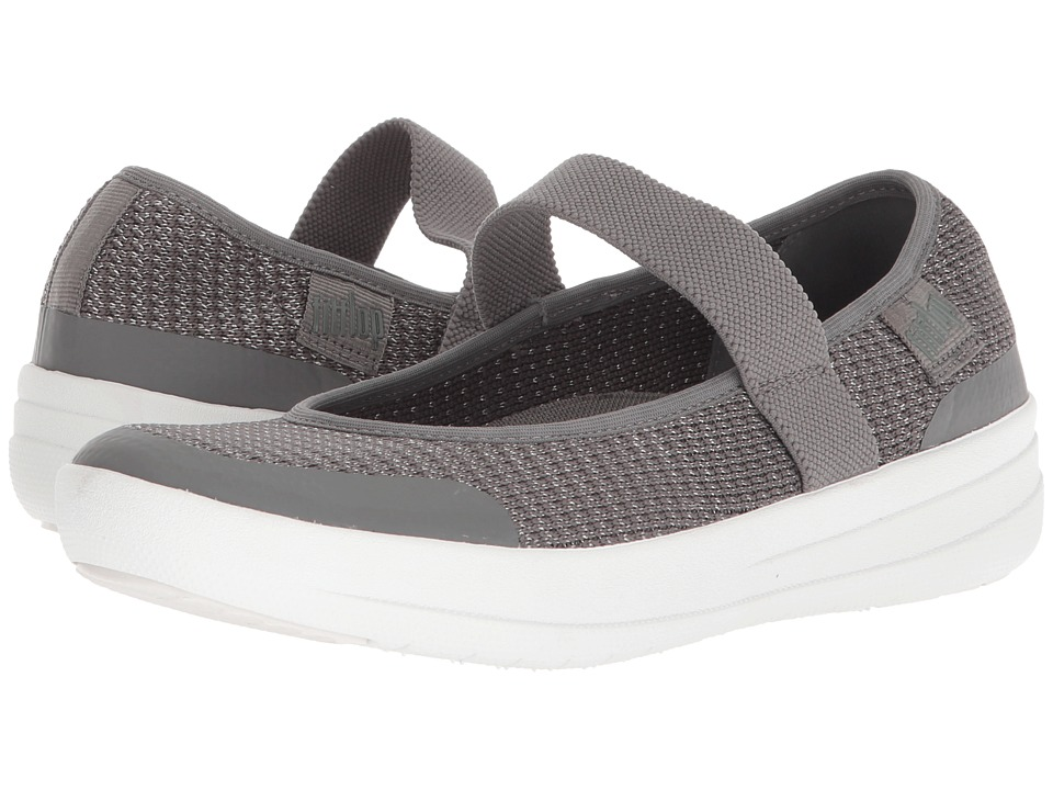 FitFlop - Uberknit Mary Jane (Charcoal/Metallic Pewter) Womens Slip on  Shoes