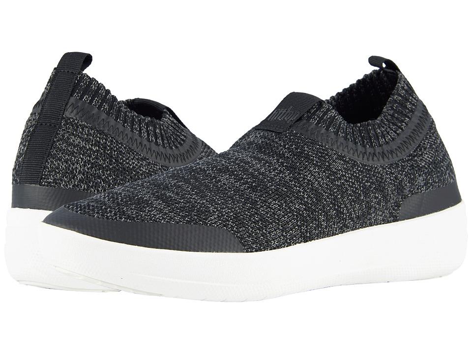 FitFlop - Uberknit Slip-On Sneakers (Black/Soft Grey) Womens Slip on  Shoes