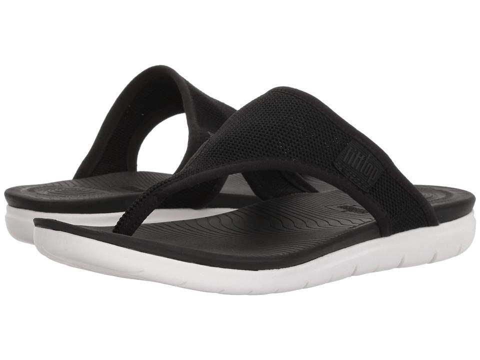 FitFlop - Uberknit Toe Thong Sandals (Black) Womens Sandals