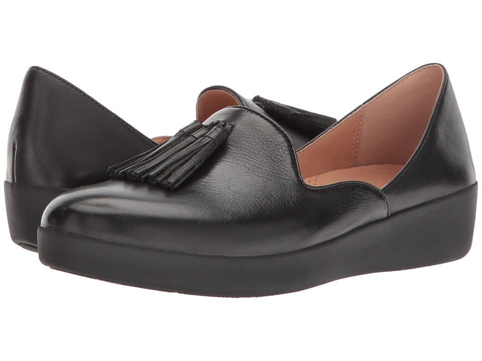 FitFlop - Tassel Superskate DOrsay Loafers (Black) Womens Slip on  Shoes