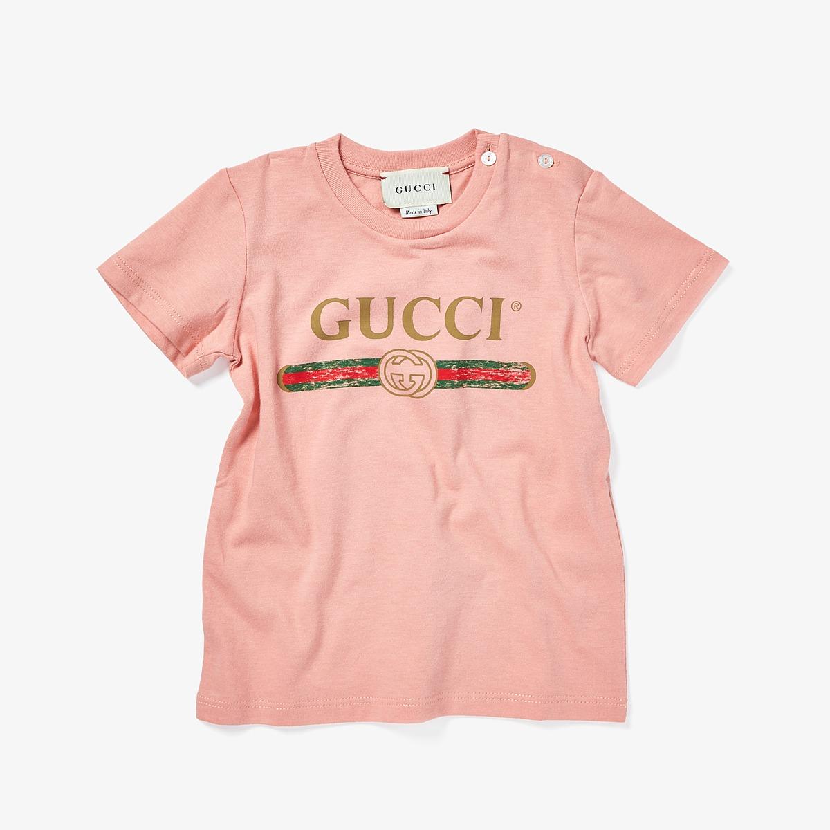 Gucci Kids - T-Shirt 504121X3L64 (Infant) (Rosantico/Green/Red) Kids T Shirt
