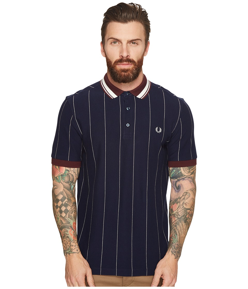 Fred Perry - Striped Pique Shirt (Carbon Blue) Men's Clothing
