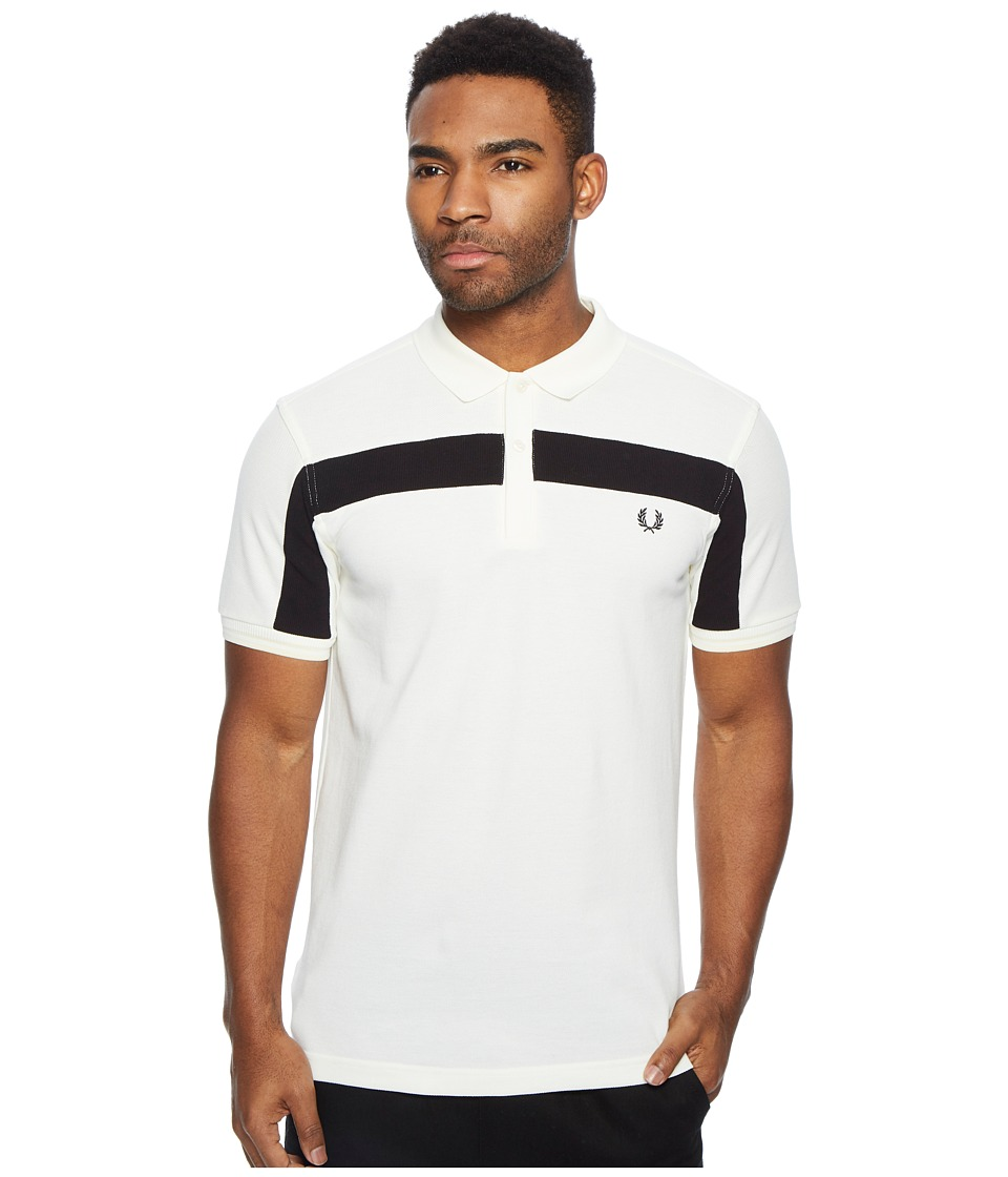 Fred Perry Textured Panelled Pique Shirt (Light Ecru) Men's Clothing