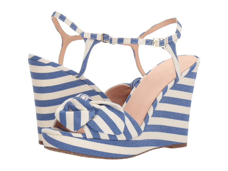 Kate Spade New York Janae (Blue/Cream Striped Canvas) Women's Shoes