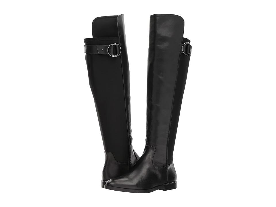 Calvin Klein Priscila (Black/Gunmetal Cow Silk/Neoprene W...