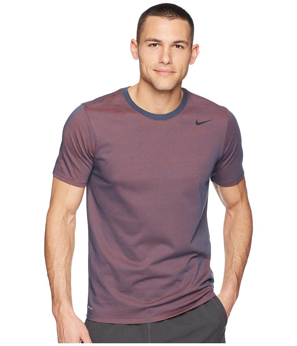 Nike Dri-FITtm Version 2.0 T-Shirt (Thunder Blue/Hyper Crimson/Heather/Black) Men