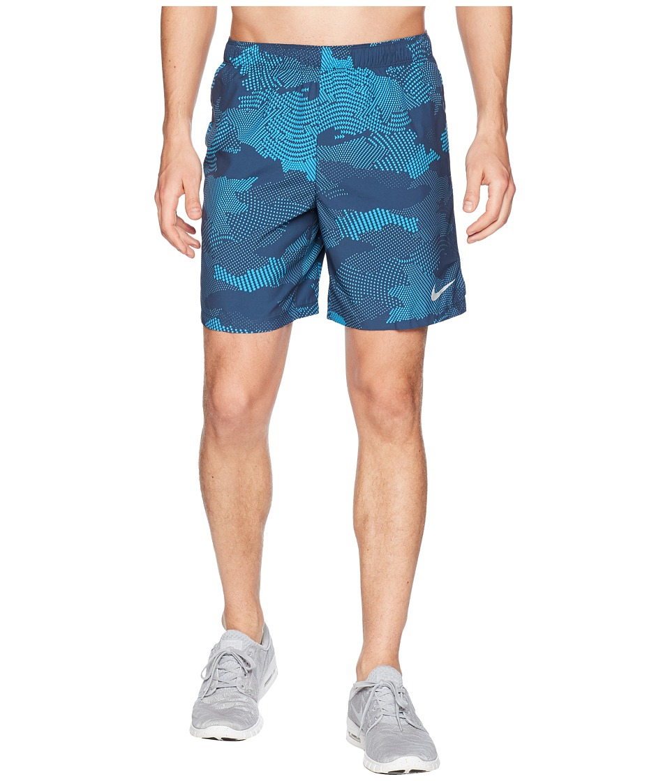 Nike Dry Challenger Shorts 7 Print (Thunder Blue/Thunder Blue) Men