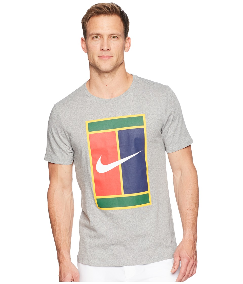 Nike Court Heritage Logo Tennis Tee (Dark Grey Heather/Dark Grey Heather) Men