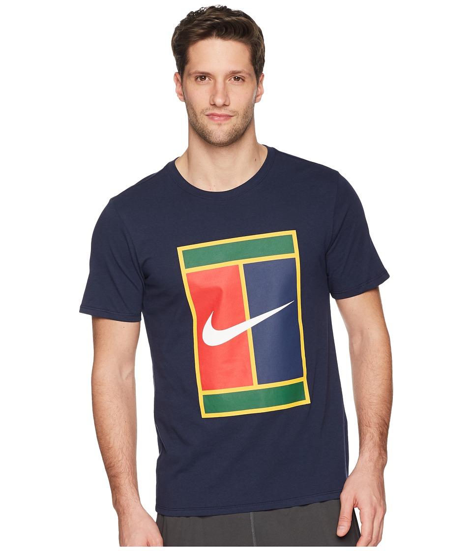 Nike Court Heritage Logo Tennis Tee (Obsidian/Obsidian) Men