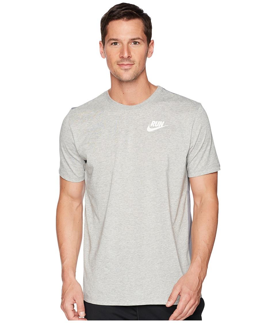 Nike Dry Tee Dri-FITtm Solid Swoosh 18 (Dark Grey Heather/White) Men