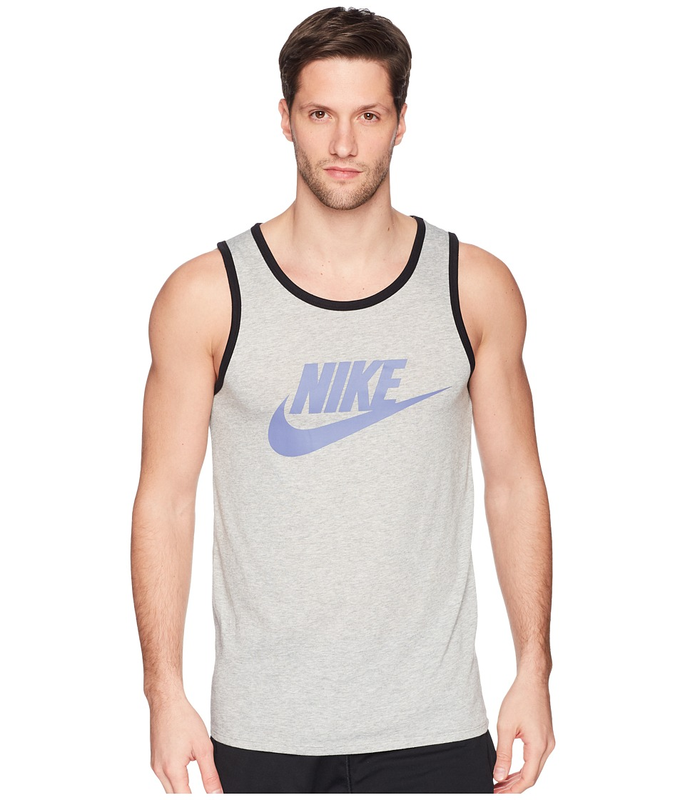 Nike Ace Logo Tank Top (Dark Grey Heather/Black/Purple Slate) Men