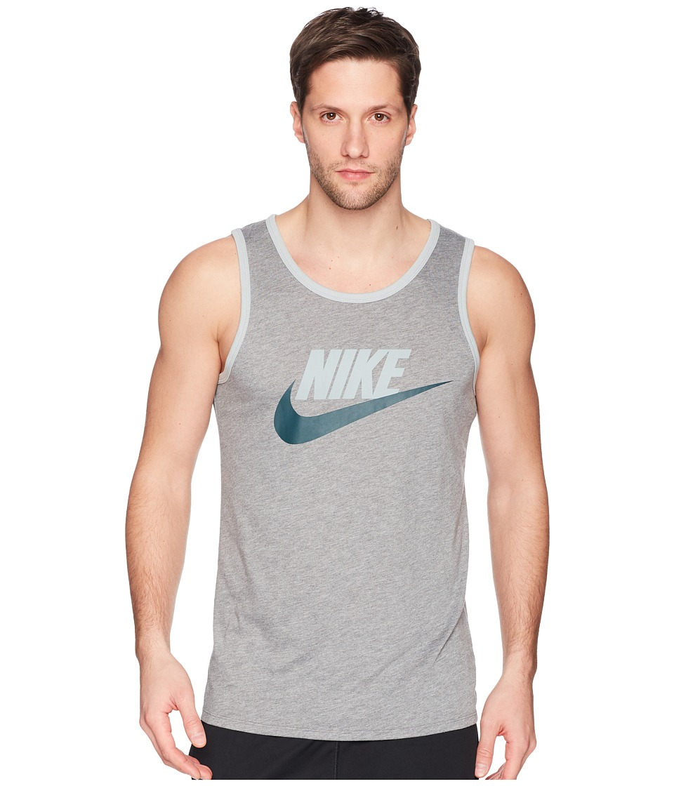 Nike Ace Logo Tank Top (Carbon Heather/Light Pumice/Deep Jungle) Men