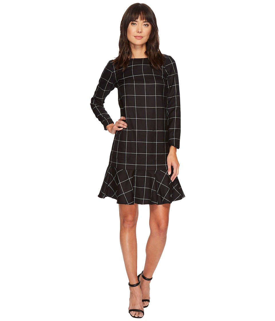 Pendleton Ruffle Hem Wool Dress (Black Windowpane Plaid) Women