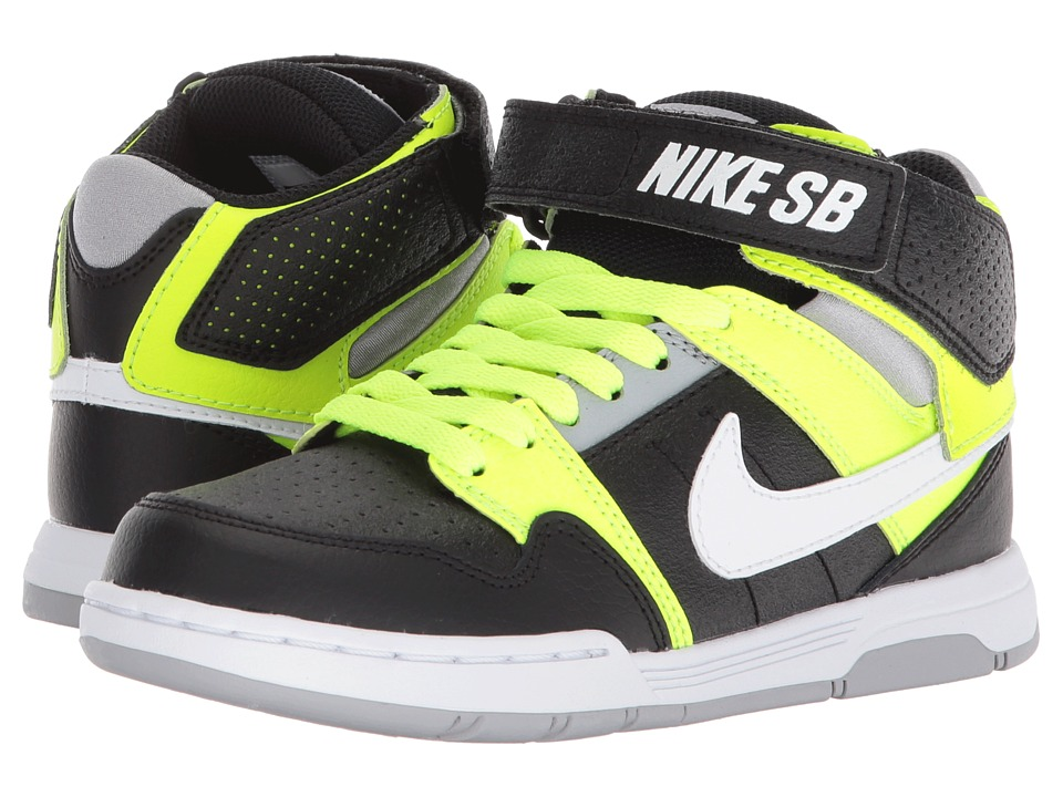 Nike SB Kids - Mogan Mid 2 Jr (Little Kid/Big Kid) (Black/White/Volt/Wolf Grey) Boys Shoes