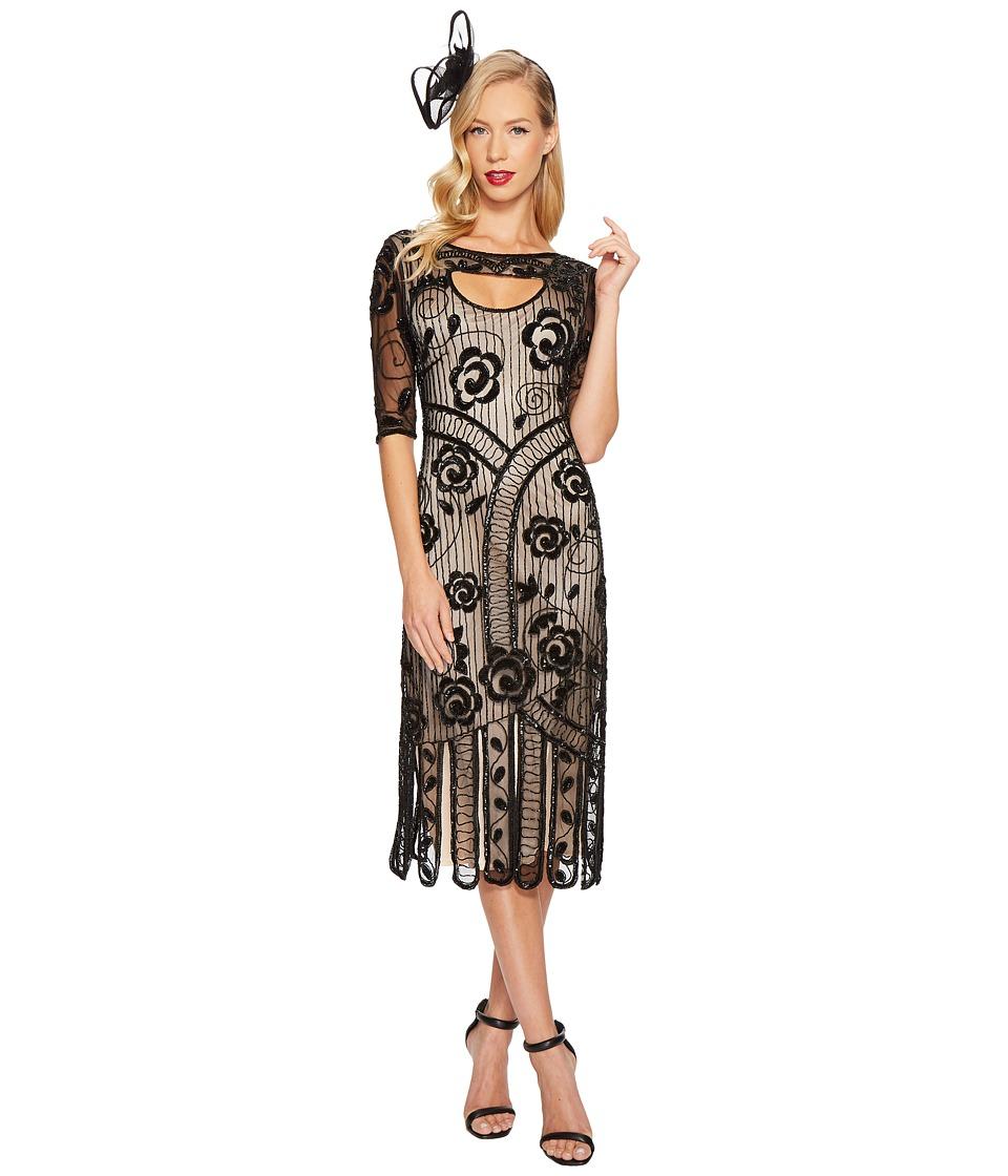 Unique Vintage Avalon Flapper Dress (Black/Nude) Women