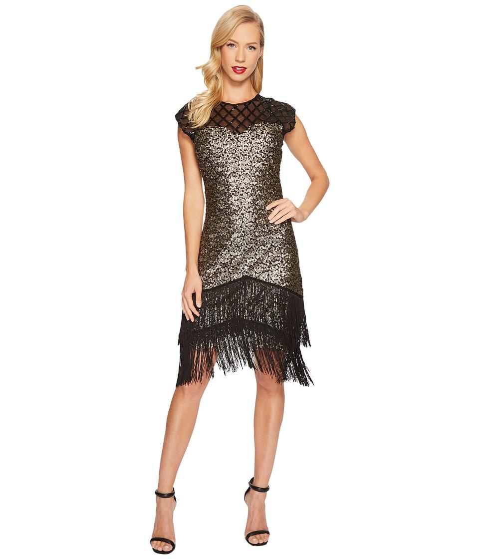 Unique Vintage Del Mar Flapper Dress (Brass/Black) Women