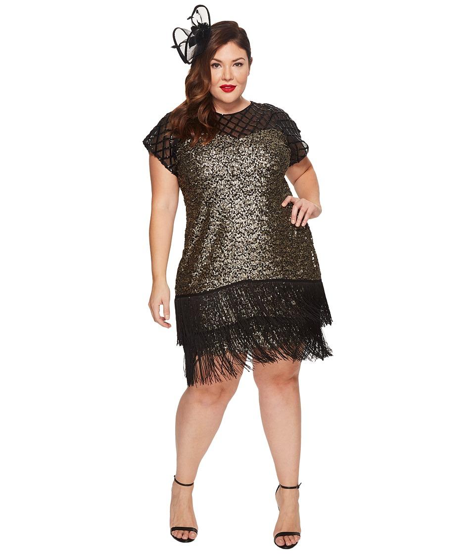 UniqueVintage Plus Size Del Mar Flapper Dress (Brass/Blac...