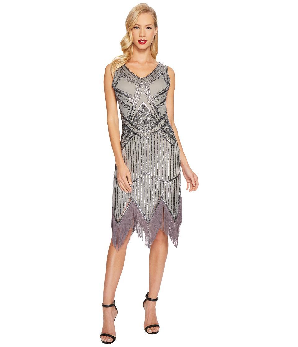 Unique Vintage Juliette Fringe Flapper Dress (Grey) Women
