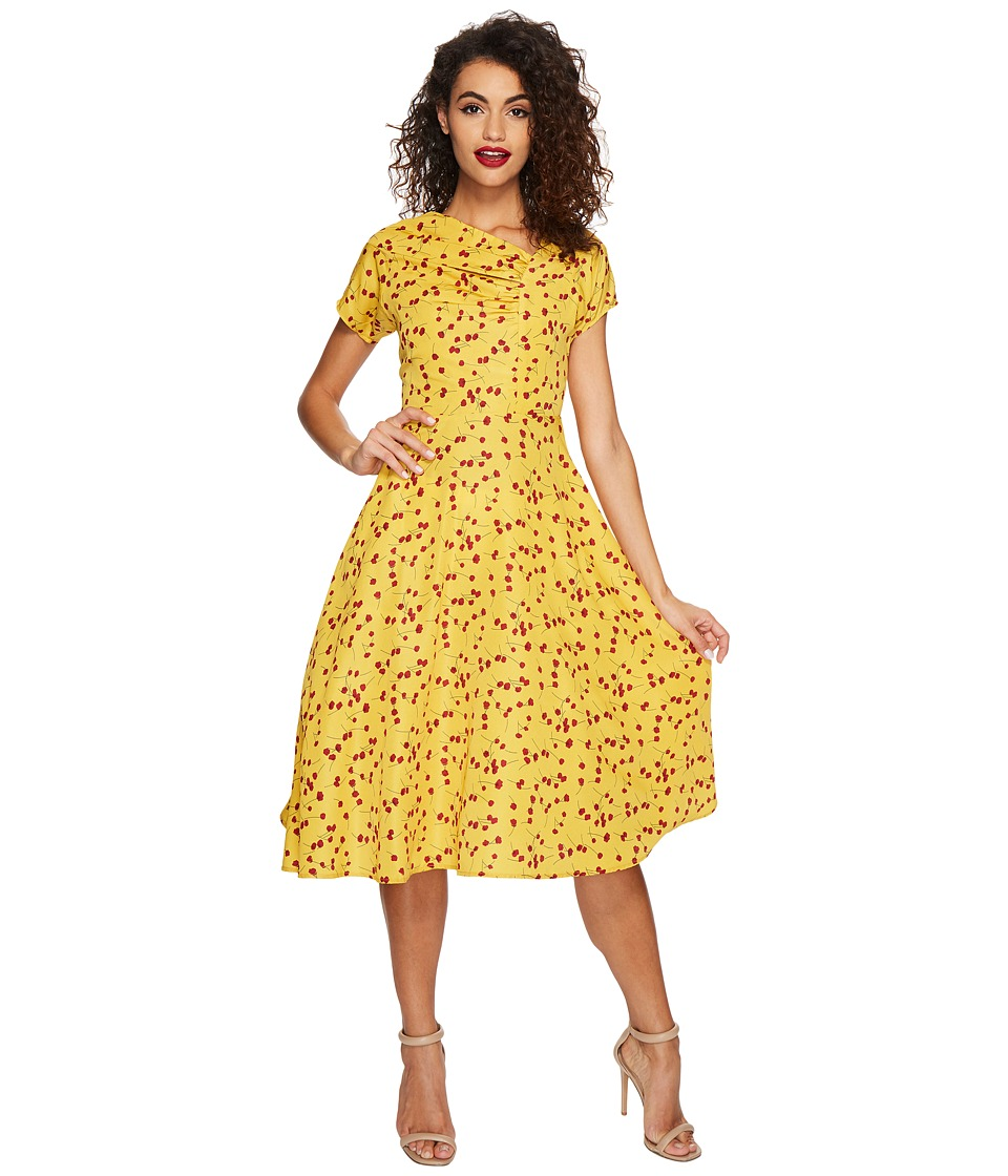 Unique Vintage Amelia Swing Dress (Mustard Yellow/Red Floral) Women