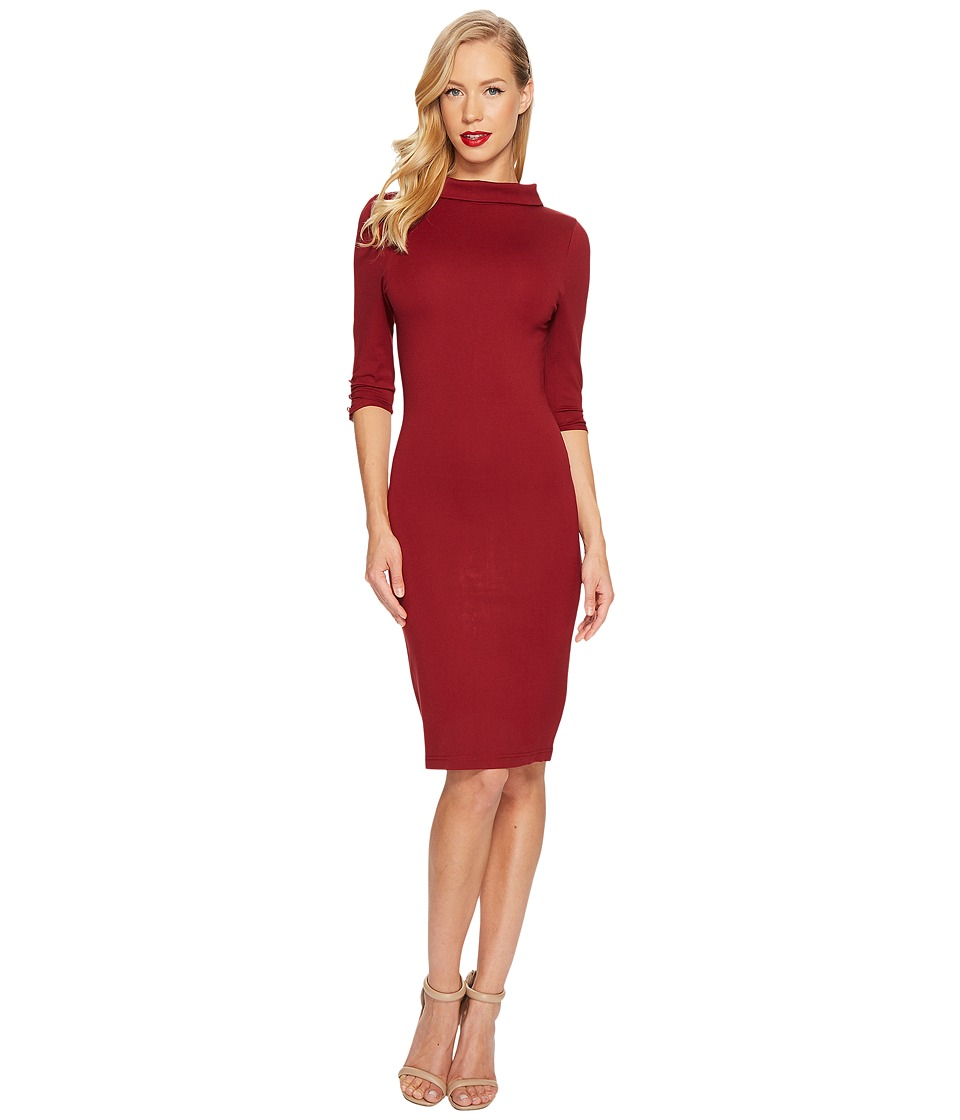 Unique Vintage Cassidy Wiggle Dress (Rust Red) Women