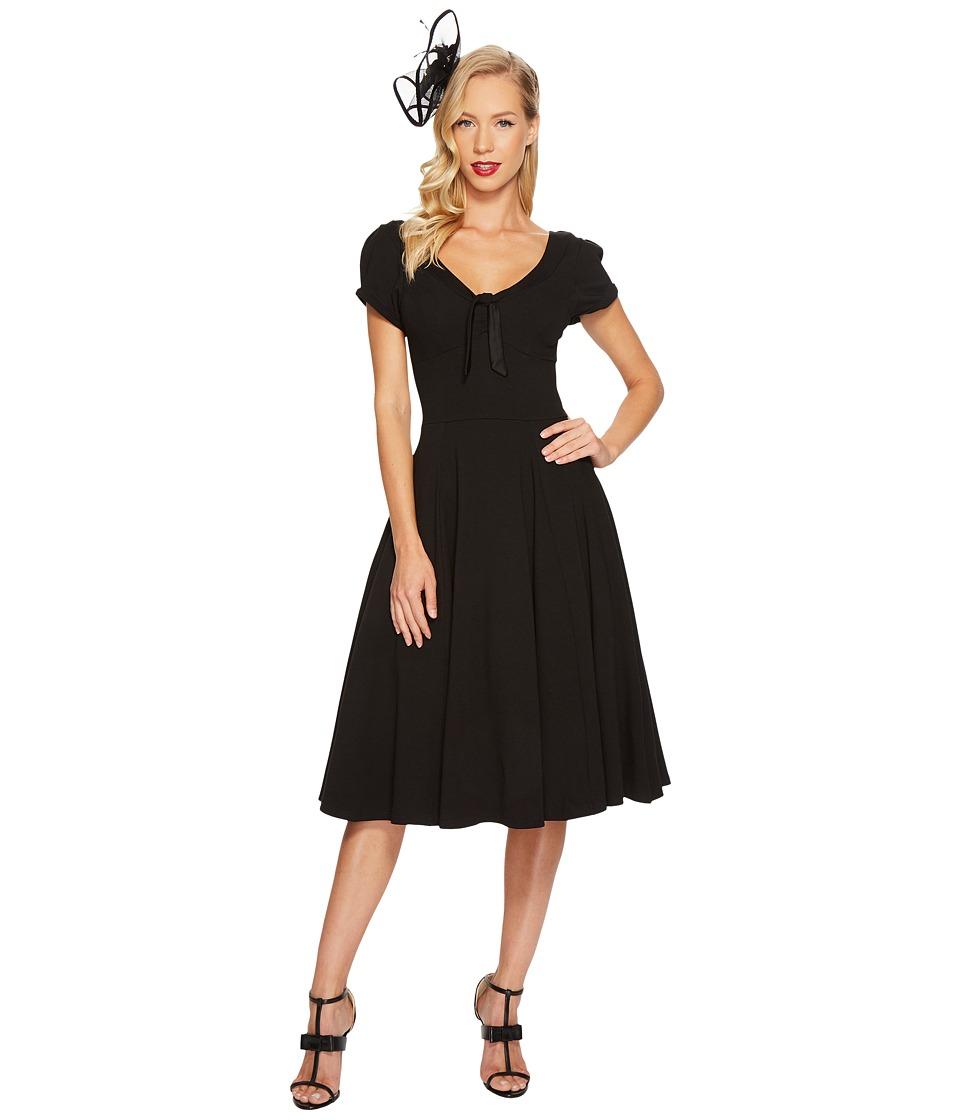 Unique Vintage Short Sleeve Natalie Swing Dress (Black) Women