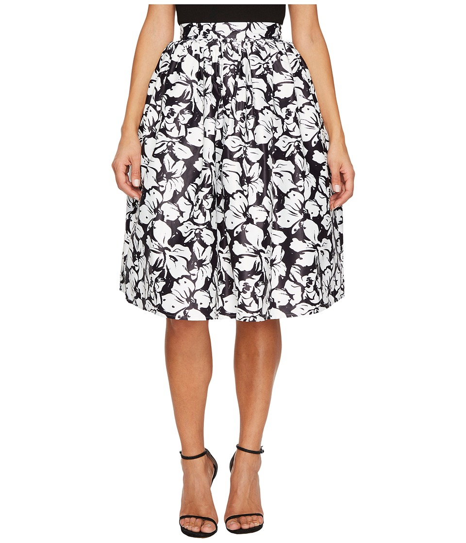 Unique Vintage High Waist Swing Skirt (Black/White Floral) Women